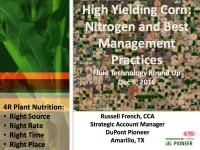 High Yielding Corn: Nitrogen and Best Management Practices