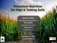 Potassium Nutrition On High K Testing Soils