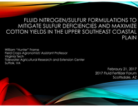 Fluid Nitrogen/Sulfur Formulations To Mitigate Sulfur Deficiencies And Maximize Cotton Yields In The Upper Southeast Coastal Plain