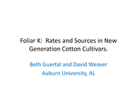 Foliar K: Rates and Sources in New Generation Cotton Cultivars