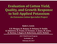 Evaluation of Cotton Yield, Quality, and Growth Response to Soil-Applied Potassium
