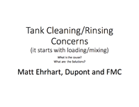 Tank Cleaning/Rinsing Concerns