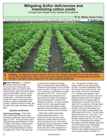 Mitigating Sulfur Deficiencies and Maximizing Cotton Yields