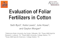 Evaluation of Foliar Fertilizers in Cotton
