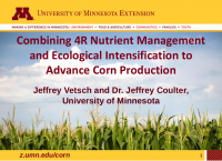 Combining 4R Nutrient Management and Ecological Intensification to Advance Corn Production – Vetsch and Coulter