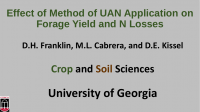 Effect of Method of UAN Application on Forage Yield and N Losses – Franklin, Cabrera, and Kissel