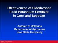 Effectiveness of Sidedressed Fluid Potassium Fertilizer in Corn and Soybean – Mallarino
